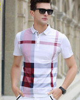 camisas pólo xadrez para homens venda por atacado-Fornecer Inglaterra Moda Masculina Londres Brit Camisas Polo de Algodão de Alta Qualidade Xadrez Polos Marca UK Design Casual Camisa Esporte Com Cavalo