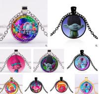 Wholesale Styles Body Jewelry - Trolls Emoji Necklace DreamWorks Poppy Cartoon Jewelry Glass Body Chain Pendant Necklaces Best Xmas Gift 114 Styles Trolls Necklaces