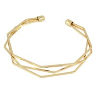 Punk Style Open Cuff BraceletsBangles Geometric Multi Layer Gold-Color Silver Black Bangle Jóias Designer para Mulheres
