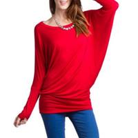 Wholesale Long Sleeve Tunic Top Wholesale - Wholesale-Fashion Women Loose Long Sleeve Batwing Dolman Tunic Tops Tshirt Plus Size
