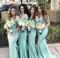 Wholesale Dr Prom - 2017 Summer Country Mint Green Mermaid prom Dresses Off the Shoulder Lace Backless Guest Gown 2017 Long Cheap Maid of Honor Dr