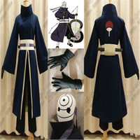 Wholesale Custom Ninja Costume - Kukucos Anime Naruto Akatsuki Ninja Tobi Obito Cosplay Costume Male Size Complete Suit Halloween Coat