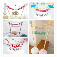 Wholesale Banner Settings - Wholesale- 10 Set lot Colorful Children's Birthday Party Cake Decoration Flag Cartoon Banner Dessert table Bread Mini Decor Bunting BZ168