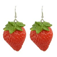Wholesale Celtic Costume For Women - Fashion Design Cute Vivid Red Strawberry Drop Earrings for Women Wholesale Costume Jewelry