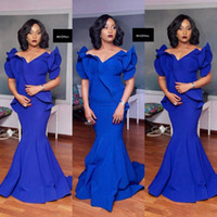 Wholesale Mermaid Tea Party - Royal Blue Mermaid Prom Dresses Plus Size South African Satin Cheap Evening Gowns Floor Length Formal Party Dress