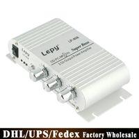 mp3 telefon amplifikatörü toptan satış-DHL 10 ADET Orijinal Lepy LP-808 Araba Kanal Amplifikatör Stereo Subwoofer Ses Aksesuarı Akıllı telefonlar MP3 MP4 DV Ile Bağlayın