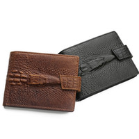 Wholesale Cards Holder Men S - Wholesale- New Arrival Men 's Business Cow Leather Hasp Crocodile Pattern Bifold Wallet Card Holder Purse Coin Pocket For Man Gift