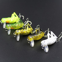 Wholesale Hard Fishing Lures Grasshopper - 20pcs lot Grasshopper Noctilucous Insects Fish Lures 4cm 3g Top Water Fishing Bait Flying Jig Wobbler Artificial Hard Lure