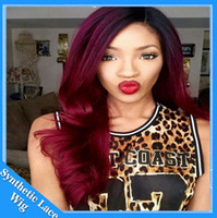 Wholesale 99j Lace Front Wigs - Free shipping red twoTone ombre black to 99J burgundy color body wave swiss lace wig heat resistant synthetic lace front wigs ombre Hair
