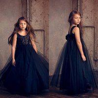 Wholesale Stylish Dresses For Girls - Stylish Sequined Backless Flower Girl Dresses Special Occasion For Weddings Kids Pageant Gowns A-Line Tulle First Communion Dress