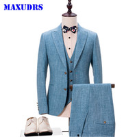 Wholesale Images Male Wedding Suits - Light Blue Style Brand Fashion Men's Suits Jacket Pants Vest 3 Piece Male Groom Wedding Prom Tuxedo Business Formal Clothing