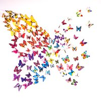 Wholesale Wall Cling Decoration - 3D Butterfly Wall Stickers 12PCS Decals Home Decor for fridge kitchen room living room home decoration