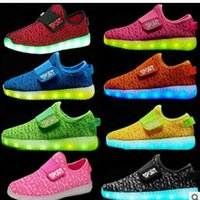 Wholesale Kids Shoe Colorful - 2017 kids LED Shoes light colorful Flashing Shoes with USB Charge Unisex Fluorescent light up Shoe Party and Sport Casual Shoes for children