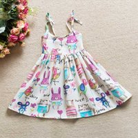 Wholesale Girls Doodles - Wholesale 2017 Baby Girls Doodle Rattibt Dresses Kids Summer Clothes Children TUTU Clothing High Quality One Piece Dress For 90-130cm