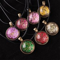 Wholesale Gemstone Flower Pendant - 2017 fashion round glass plant hand lace dry flower pendant necklace time gemstone retro necklace gold plated jewelry for women accessories