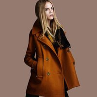 Wholesale womens wool coats - Fashion womens long coats Loose Style Solid Wool Double-Breasted Outerwear Women Coats European Style Free shipping