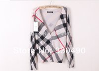 Wholesale Shell Cardigan - Wholesale-2014 Spring ZA women's sweater V-neck shell button Plaid stripe knitted sweater ladies' Cardigan sweater knitwear
