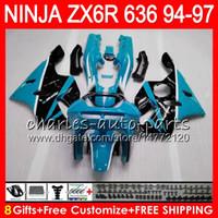 1996 kawasaki ninja zx6r venda por atacado-8Presentes 23Cores Para KAWASAKI NINJA ZX6R 94 95 96 97 600CC ZX-6R 33NO71 ciano preto ZX636 ZX 636 ZX 6R ZX600 1994 1995 1996 1997 Kit de Carenagem