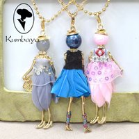 Wholesale Doll Necklaces - Hot Sale! Cute Girl Dress Dancing Feather Doll Necklace Women Jewelry free shipping Christmas Gifts Jewelry Statements Accessories NS255