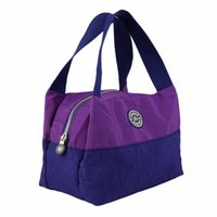 Wholesale Lunch Tote Wholesale - Wholesale- Women Handbag Constract Color Oxford Waterproof Picnic Bags Tote Designer Lady Shopping Bag Lunch bag