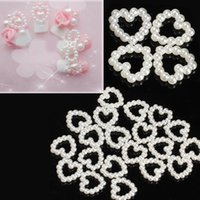 Wholesale Pearls Nail Art Heart - Wholesale- 20PCS Lot 3D Heart Shape Nail Art Tips White Imitated Pearl Gem Glitter Manicure DIY Decoration Cellphone Decors
