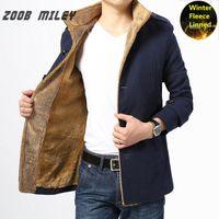 Wholesale Men Fashion Wool Coats - Wholesale- ZOOB MILEY Thickening Winter Jacket Men Fashion Warm Long Sleeve Outerwear Velvet Inside Wool Coats and Jackets Plus Size M-4XL