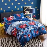 yorgan örtüsü mavi set toptan satış-Noel HEDIYE Noel Baba Beyaz Mavi RENK pamuk erkek kız Ev Yatak 4 ADET set KRALIÇE boyutu 3D karton Nevresim setleri yastık kılıfı setleri