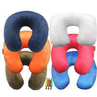 Wholesale Pillow For Massage - Soft Cloth Cover Inflatable Pillow Comfortable Easy Clean Colorful Solid Color U-pillow Pink Blue Cushion For Tourism 4 2sk R