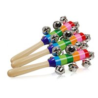 Wholesale Wholesale Wooden Baby Cribs - Wholesale- Cute Rainbow Baby Rattles Baby Toy Pram Crib Handle Wooden Bell Stick Shaker Rattle Toy