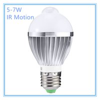 Wholesale Globe Cabinets - Hot IR Motion Sensor LED Bulb Spotlight Lamp E27 5W 7W 5730SMD Cool White Warm White AC 85-265V for Bedroom Hallway Cabinet