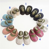 Wholesale Baby Diamond Shoe - Baby diamond shiny Leather shoes Kids girl spring Buckle Strap moccasins Baby First Walkers 8colors 3size