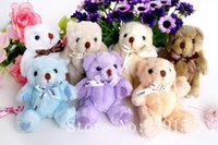 Wholesale Teddy Bear Bow Tie Wholesale - Wholesale- H-13cm lovely Bow-Tie Stuffed Jointed Teddy Bear Gift Flower Packing Teddy Bear 9 color 12pcs lot