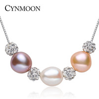 Wholesale Baroque Freshwater Pearl Necklace White - 2017 New 9-10mm Natural Freshwater Baroque Pearl Pendant Necklace for Women Birthday Gift 925 Sterling Silver Necklace Jewelry