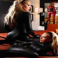 ingrosso costumi sexy neri del pvc-All'ingrosso- 2016 Sexy Catwomen Nero Tuta In Lattice PVC Catsuit Costumi Per La Danza Donne Body Suit Fetish In Pelle DS Gioco vestiti