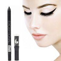 Wholesale Eyebrow Pencil Sharpener - Black Eyeliner Pencil Waterproof Eyebrow Pen Make Up Beauty Comestics Eye Liner Eyes Makeup With pencil Sharpener