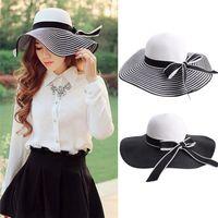 Wholesale Beautiful Hat - Wholesale- 2017 Hepburn Wind Black White Striped Bowknot Summer Sun Hat Beautiful Women Straw Beach Hat Large Brimmed Hat