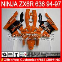 ninja zx6r verkleidungssatz west großhandel-8Geschenke 23 Farben Für KAWASAKI NINJA ZX6R 94 95 96 97 600CC ZX-6R orange west 33NO59 ZX636 ZX 636 ZX 6R ZX600 1994 1995 1996 1997 Verkleidungssatz