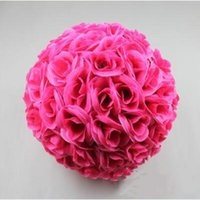 "Wholesale large christmas ball ornaments - 60 CM 23"" Artificial Encryption Rose Silk Flower Kissing Balls Large Size For Christmas Ornaments Wedding Party Decorations 10 Color"