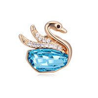 Wholesale Mandarin Duck Jewelry - 2017 Promotion Social Jewelry Fashion Lady Mandarin Duck Austria Crystal Brooches Plated Platinum As best Gift