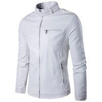 ingrosso uomini di giacca di pelle bianca di marca-All'ingrosso-Marca White Pu Giacca in pelle da uomo 2017 Inverno Giacca Moto Design Uomo Slim Fit Biker Jacket Elegante Veste Cuir Homme