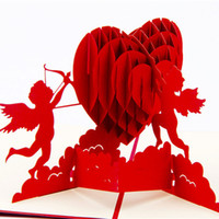 Wholesale Origami Pop Up Greeting Cards - Free shipping Cupid's Heart Creative Valentine's Greeting&Gift Cards 3D Pop UP Card Kirigami & Origami Wedding Invitations