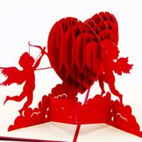 origami 3d pop-up regalo al por mayor-Envío gratis corazón de Cupido tarjetas de felicitación de San Valentín creativas tarjetas de regalo 3D Pop UP invitaciones de boda de Kirigami Origami