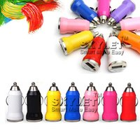 Wholesale Uk Iphone5 - For Iphone 6 USB Car Charger Colorful Bullet Mini Car Charge Portable Charger Universal Adapter For Iphone5 5S 500 Pieces DHL Free Shipping