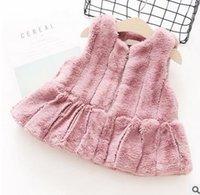Wholesale Thicker Dress - Kids vest dress Girls stripe fur outwear children cloar zipper dress Autumn winter sweet girls Thicker waistcoat Kids sleeveless dress G1016