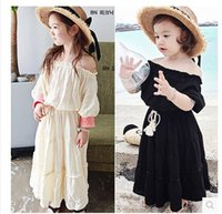 Wholesale Long Sleeve Korean Maxi Dress - 2017 Spring Summer Fashion Girls Beach Dresses Korean Bohemia Girl Dress Children Princess long Maxi Dress Kids Child Clothes wear A138
