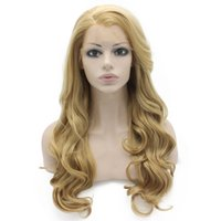 Wholesale ash blonde hair - Long Wavy Ash Blonde Hand Tied Lace Front Synthetic Hair Wig