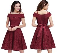 Wholesale Cheap Bow Shirts - Hot Sales Cheap Junior Bridesmaid Dress Off Shoulder A Line Full Lace Party Dresses For Girls 2017 Cocktail Gowns CPS695