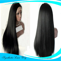 Wholesale Yaki Wig 16 Inches - Wigs for Black Women Natural Yaki Straight Hair Black Synthetic Lace Front Wig Half Hand Tied Heat Resistant Fiber 24 inches