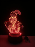 Wholesale Spider Man Decoration For Party - 1pcs 3D Led Desk Lamp Spider-Man Mask for Home Decor Crystal Night Light Table Lamp Decoration
