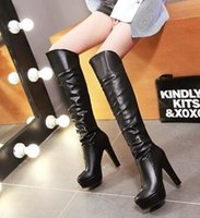 Wholesale Thigh High Boots New Arrivals - New Arrival Hot Sale Specials Influx Sexy Spike Retro Super Leather Martin Slim Plain Nightclub Platform Noble Knee Boots EU34-43